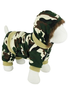 Kakadu Pet Mission Dog Army Jacket with Faux Fur Hood