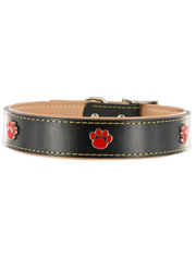 Kakadu Pet Paw Print Decorative Leather Collar