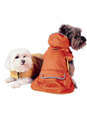 New York Dog Fleece Lined Raincoat with Hood