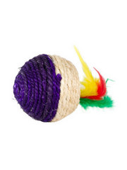 Striped ball with feather tail