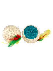 Sisal ball with feather tail