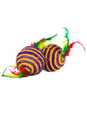 Striped ball with double feather tail
