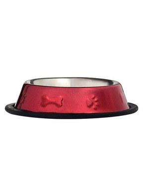 Pet Edge Bone & Paw Embossed Stainless Steel Bowl